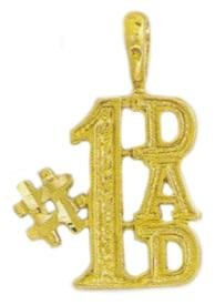 """NUMBER 1 DAD"" Pendant In Gold Or Rhodium w-86"