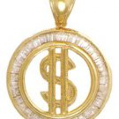 Dollar Sign Medallian CZ Pendant In Gold Or Rhodium czp-149
