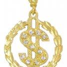 Dollar Sign CZ Pendant In Gold Or Rhodium czp-1