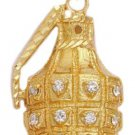 Hand Gernade CZ Pendant In Gold Or Rhodium CZP-129