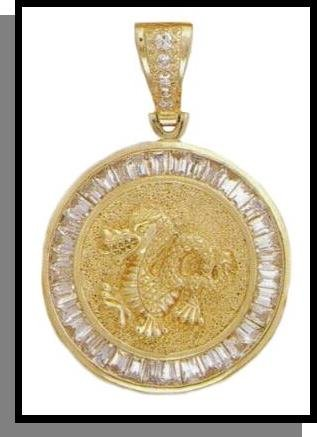 Dragon Medallion CZ Pendant In Gold Or Rhodium CZP-147