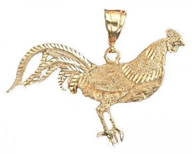 Game Rooster Pendant In Gold Or Rhodium smj-19