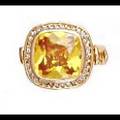 Citrine CZ Gold Layered Ring With Accents LR-167