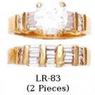 Russian CZ Wedding Ring Set Gold Or Rhodium Layered LR-83