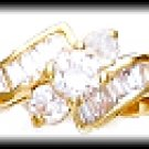 Graceful Russian CZ Ring Gold Or Rhodium Layered LR-81