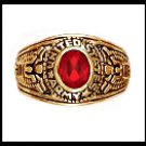 Army Ring Ruby CZ Gold Or Rhodium Layered LR-170