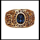 """NAVY"" Ring Blue CZ Gold Or Rhodium Layered LR-171"