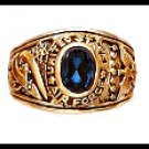 """Air Force"" Ring Blue CZ Gold Or Rhodium Layered LR-172"