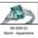 March Birthstone Ring Aquamarine CZ   RDBSR-23