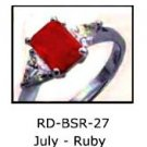 July Birthstone Ring Ruby Red CZ  RDBSR-27