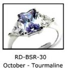 October Birthstone Ring Tourmaline CZ  RDBSR-30