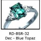 December Birthstone Ring Blue Topaz CZ  RDBSR-32