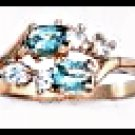 March Birthstone Aquamarine CZ Ring BSR-3