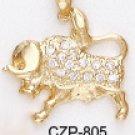 TAURUS, April 20 - May 20 Astrology CZ Pendant CZP-805