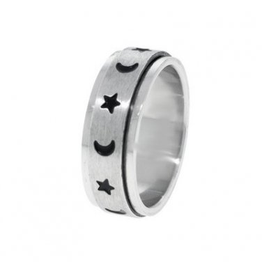 Stainless Steel  Moon And Stars Spinner Ring M32R-7043