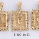 Initial Frame Square Pendants A-Z S-100