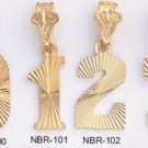 LARGE NUMBER Gold Or Rhodium Pendants 1-100 LG#