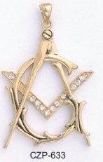 Masonic  Russian Cubic Zirconia Pendant CZP-633