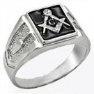 Freemason Symbol Black Enamel Rhodium Ring  A-55602