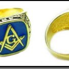 Scroll Design Blue Freemason Ring MN-82 dark