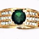 Emerald Green CZ Ring Gold Or Rhodium Layered MN-51-B