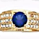 Sapphire Blue CZ Ring Gold Layered MN-51-C