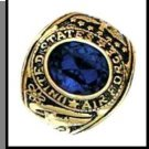 Air Force Ring Sapphire Blue CZ Gold Or Rhodium Layered MN-92A