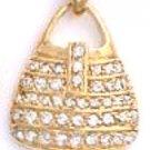 CZ Purse Gold Or Rhodium Layered Pendant CZP-598