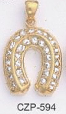 Lucky Horseshoe Gold Or Rhodium Layered Pendant -CZP-594