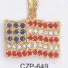 American Flag Pendant Gold Or Rhodium Layered  CZP-649