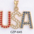 """USA"" Pendant Gold Or Rhodium Layered CZP-645"