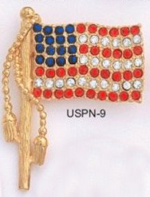 American Flag Gold  Layered Pin USPN-9