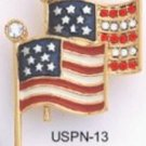 American Flags Pin Gold Plated USPN-13