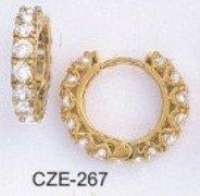 Hoop CZ Earrings 3/4  Inch CZE-267
