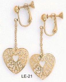 Heart Filigree Gold Layered Earrings LE-21