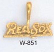 "Boston ""RED SOX"" Baseball Pendant Gold Or Rhodium W-849"