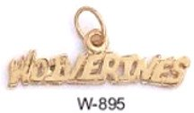 "Michigan ""WOLVERINES"" Pendant Gold Or Rhodium W-895"