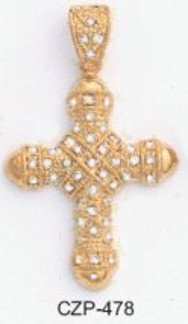 Masculine Russian CZ Cross Pendant CZP-478