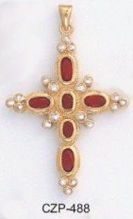 Christian Russian Red Ruby CZ Cross Pendant CZP-488