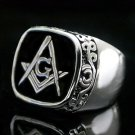 Scroll Design Black Freemason Ring RDMN-80