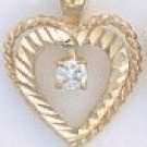 Rope Diamond Cut Heart Pendant CZP-388