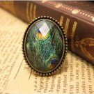 Ancient Peacock Print Oval Framed Ring