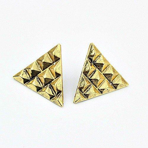 Vintage Style Triangle Stud Earrings (Bronze)