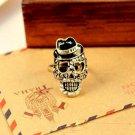 Vintage Gentleman Skeleton Head Ring