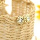 Square Shaped Rhinestone Stud Earrings (White)
