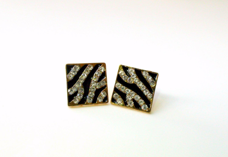 Zebra Print Rhinestone Square Shaped Stud Earrings