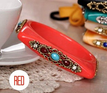 Square Shaped Rhinestone Bangle Bracelet (Red)