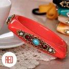 Square Shaped Rhinestone Bangle Bracelet (Red)