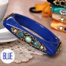 Square Shaped Rhinestone Bangle Bracelet (Blue)