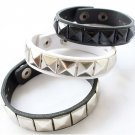 Black Square Pyramid Rivet Leather Bracelet (with Silver Button)